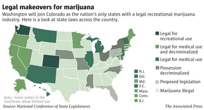 US Recreational Legalized States Medigrow Innovation Grown - Us map of legal weed 2017